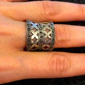 Large Sterling Silver Lattice Ring